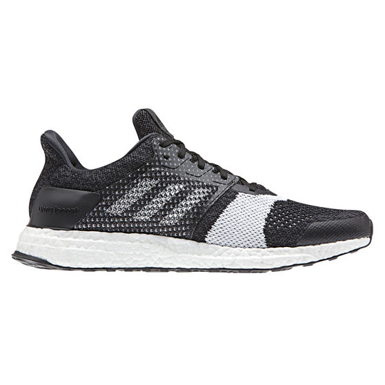 adidas Ultraboost ST Mens Running Shoes, Black / White, rebel_hi-res