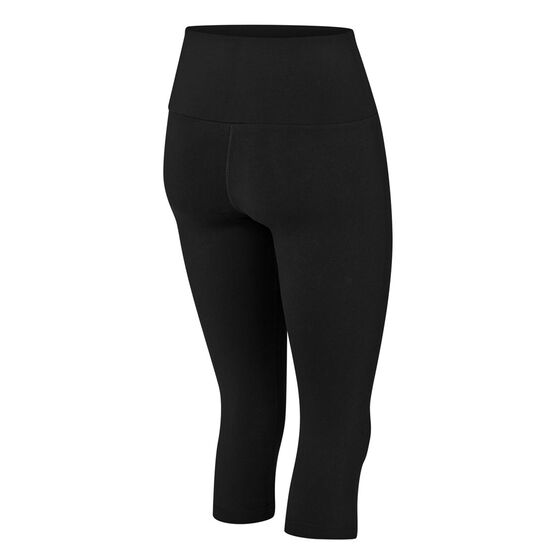 Running Bare Womens Ab Waisted What WOTS 3/4 Tights Black 8, Black, rebel_hi-res