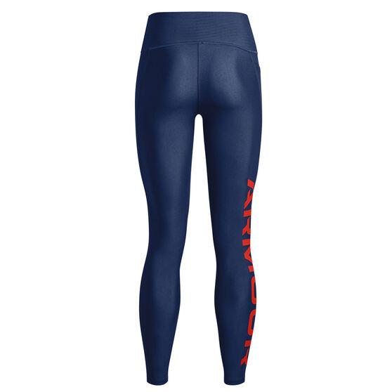 Under Armour Womens HeatGear No-Slip Waistband Branded Full Length Tights, Navy, rebel_hi-res