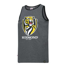 Richmond Tigers Mens Supporter Logo Tank Grey S, Grey, rebel_hi-res