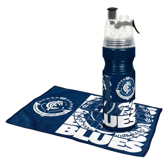 Carlton Blues Water Bottle and Gym Towel Pack, , rebel_hi-res