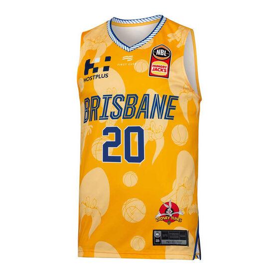 Brisbane Bullets Mens 2019/20 Looney Tunes Nathan Sobey Jersey, Yellow, rebel_hi-res