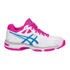 Asics Gel Netburner 18 D Womens Netball Shoes White / Pink US 6, White / Pink, rebel_hi-res