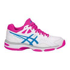 Asics Gel Netburner 18 D Womens Netball Shoes White / Pink US 6, White / Pink, rebel_hi-res