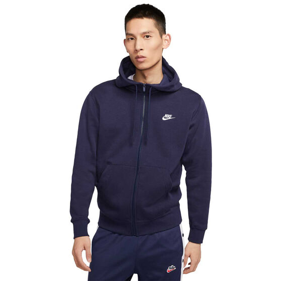 Nike Mens Sportswear Club Fleece Full-Zip Hoodie, Navy, rebel_hi-res