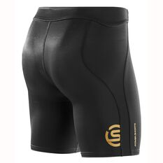 Skins Mens A400 Gold Compression Powershorts Black / Gold S Adult, Black / Gold, rebel_hi-res