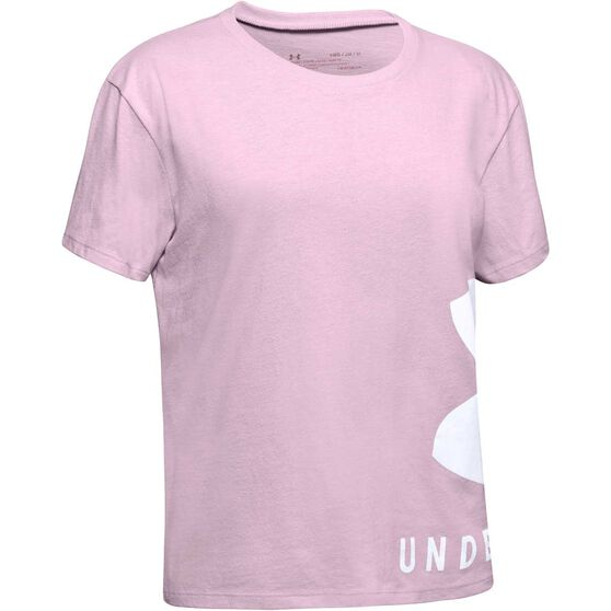 Under Armour Girls Sportstyle Tee, Pink / White, rebel_hi-res