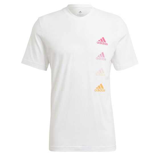 adidas Mens Gradient Logo Tee, White, rebel_hi-res