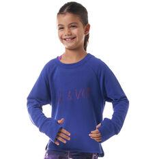 Ell & Voo Girls Amanda LS Relaxed Crew Sweatshirt Blue 4 4, Blue, rebel_hi-res