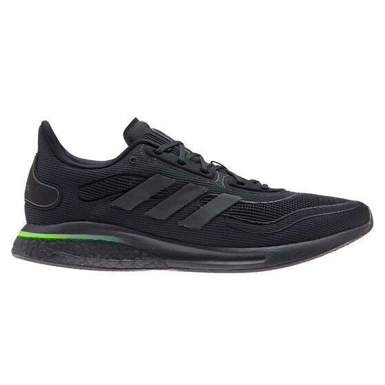 adidas Supernova Mens Running Shoes, Black/Green, rebel_hi-res
