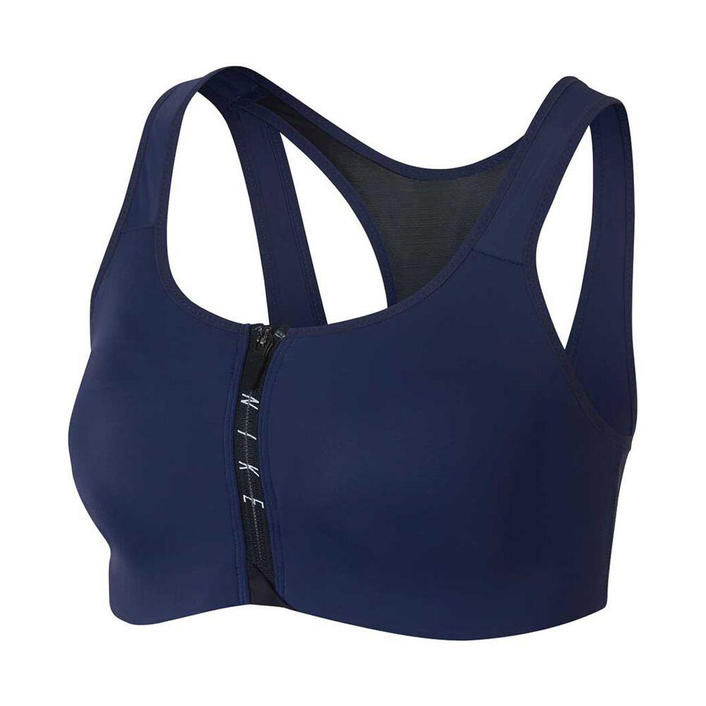 fa6b5f46e5d88 Nike Womens Shape Zip Sports Bra Blue   Black XS Adult