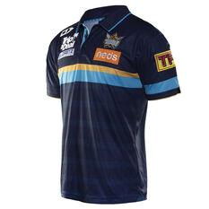 Gold Coast Titans 2019 Mens Media Polo Navy / Blue S, Navy / Blue, rebel_hi-res