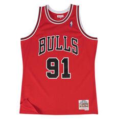 Chicago Bulls Dennis Rodman 97/98 Mens Swingman Jersey Red S, Red, rebel_hi-res