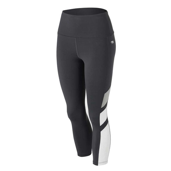 Running Bare Womens Ab Waisted Jigsaw 7/8 Tights Black 14, Black, rebel_hi-res