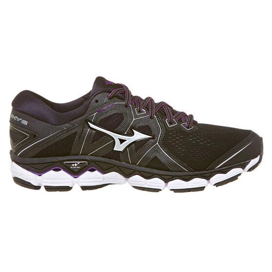 Mizuno Wave Sky 2 Womens Running Shoes, Black, rebel_hi-res