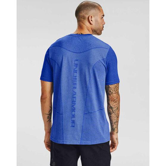 Under Armour Mens Seamless Logo Training Tee, Blue, rebel_hi-res