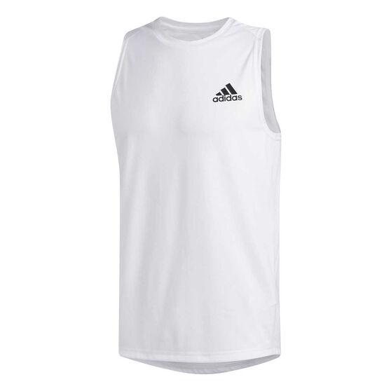 adidas Mens FreeLift Sport Ultimate Tank, White, rebel_hi-res