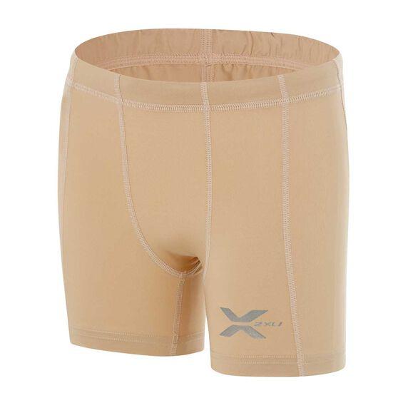 2XU Boys Half Compression Shorts, Beige, rebel_hi-res