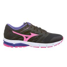 The Mizuno Synchro 2 MD Womens Running Shoes Black / Volt US 6, Black / Volt, rebel_hi-res
