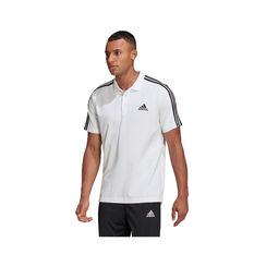 adidas Mens Essentials Pique 3-Stripes Polo White XS, White, rebel_hi-res