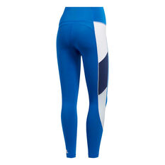 adidas Womens Believe This Retro Block Tights Blue XS, Blue, rebel_hi-res