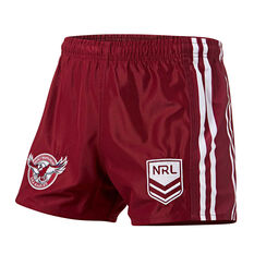 Manly Warringah Sea Eagles Mens Home Supporter Shorts Maroon S, Maroon, rebel_hi-res
