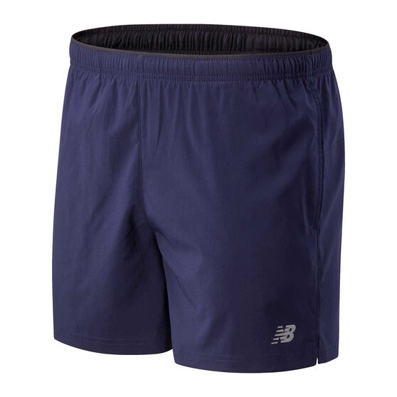 New Balance Mens Core 5in Woven Shorts, Blue, rebel_hi-res