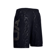 Under Armour Mens Woven Graphic Emboss Shorts, Black, rebel_hi-res
