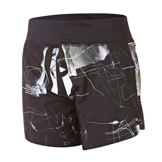 Reebok Womens Woven 5in All Over Print Shorts, Black, rebel_hi-res