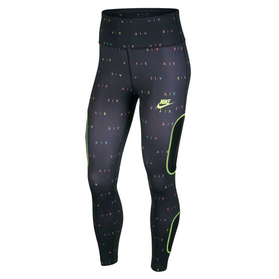 Nike Air Womens 7/8 Running Tights, Black, rebel_hi-res