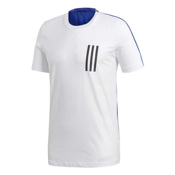 adidas Mens Sport ID 3-Stripes Tee White / Blue XL, White / Blue, rebel_hi-res
