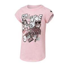 Nike Girls Sticker Pack Tee Pink 4, , rebel_hi-res