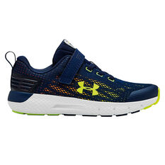 Under Armour Charged Rogue Kids Running Shoes Navy / Yellow US 12, Navy / Yellow, rebel_hi-res
