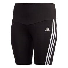 adidas Womens Must Haves Cotton Short Tights Plus Black XL, Black, rebel_hi-res