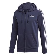 adidas Mens Essentials 3-Stripes Full Zip French Terry Hoodie Navy S, Navy, rebel_hi-res