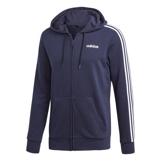 adidas Mens Essentials 3-Stripes Full Zip French Terry Hoodie, Navy, rebel_hi-res