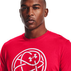 Under Armour Mens Hoops Icon Tee, Red, rebel_hi-res