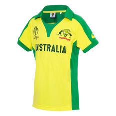 Cricket Australia 2019 Kids Replica World Cup Shirt Yellow / Green 8, Yellow / Green, rebel_hi-res