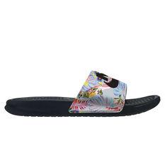Nike Benassi Just Do It Womens Slides White / Black US 6, White / Black, rebel_hi-res