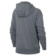 Nike Boys Dry Graphic Full Zip Hoodie Grey / White XS, Grey / White, rebel_hi-res