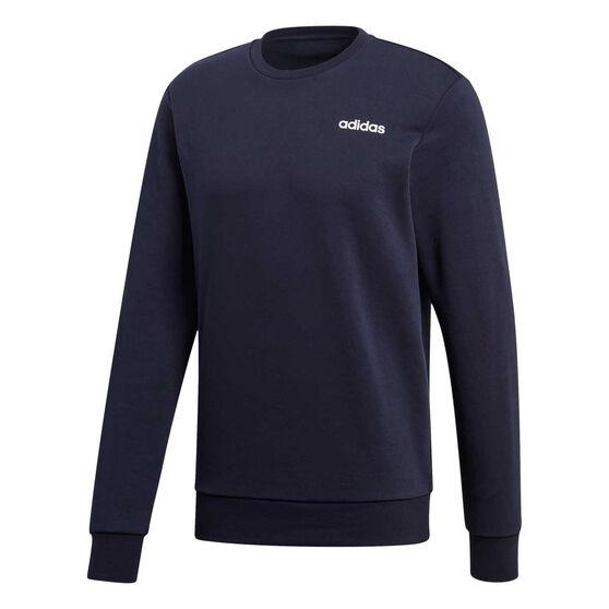 adidas Mens Essentials Plain Crew Sweater Navy M, Navy, rebel_hi-res