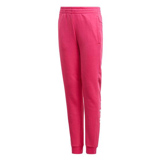 adidas Girls Linear Pants, Pink / White, rebel_hi-res
