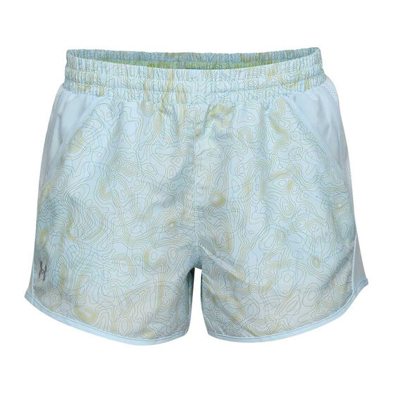 Under Armour Womens Fly By Printed Shorts, Blue, rebel_hi-res