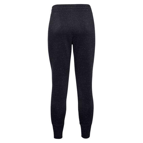 Under Armour Womens Rival Fleece Shine Pants, Black, rebel_hi-res