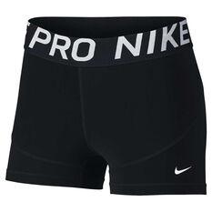 Nike Pro Womens 3in Training Shorts Black / White XS, Black / White, rebel_hi-res