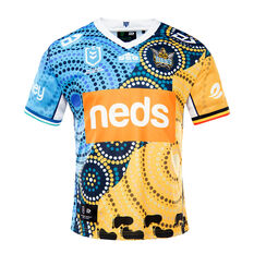 Gold Coast Titans 2021 Mens Indigenous Jersey Multi S, Multi, rebel_hi-res