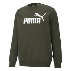 Puma Mens Essential Big Logo Crew Sweatshirt Green XS, Green, rebel_hi-res