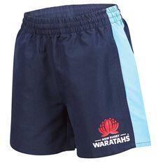 NSW Waratahs 2018 Kids Tactic Shorts Navy 8, Navy, rebel_hi-res