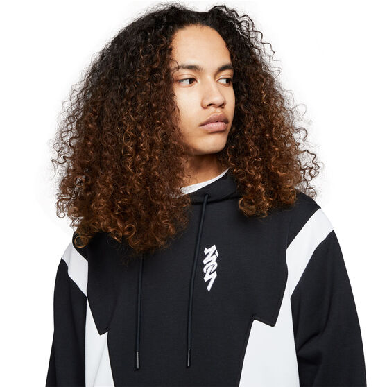 Jordan Mens Dri-FIT Zion Fleece Hoodie, Black/White, rebel_hi-res
