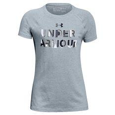 Under Armour Girls Asymmetric Branded Tee Grey / Black XS, Grey / Black, rebel_hi-res